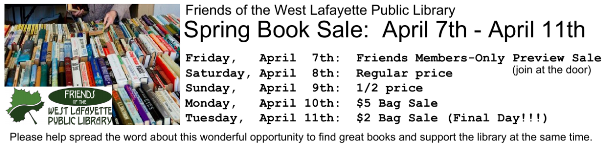 Spring Book Sale: April 7th – 11th, 2017